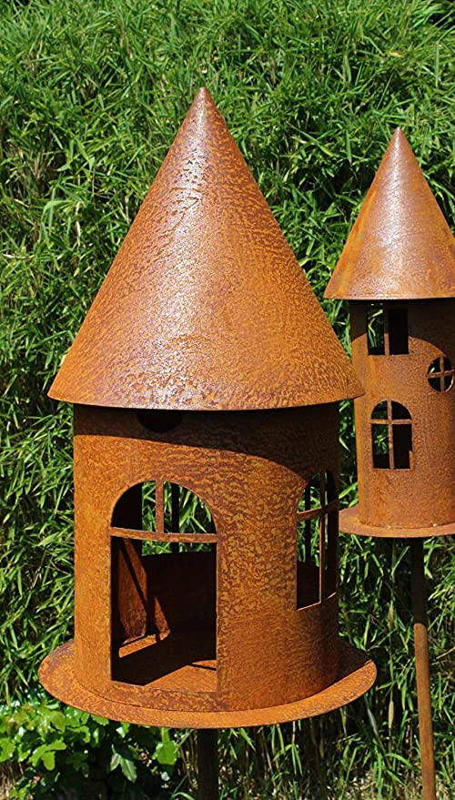 Adorno para jardín con forma de casa de pájaros, decoración de jardín, aspecto oxidado natural, decoración de jardín, conector para bancal, soporte para velas, comedero para pájaros redondo sobre placa: Amazon.es: Jardín