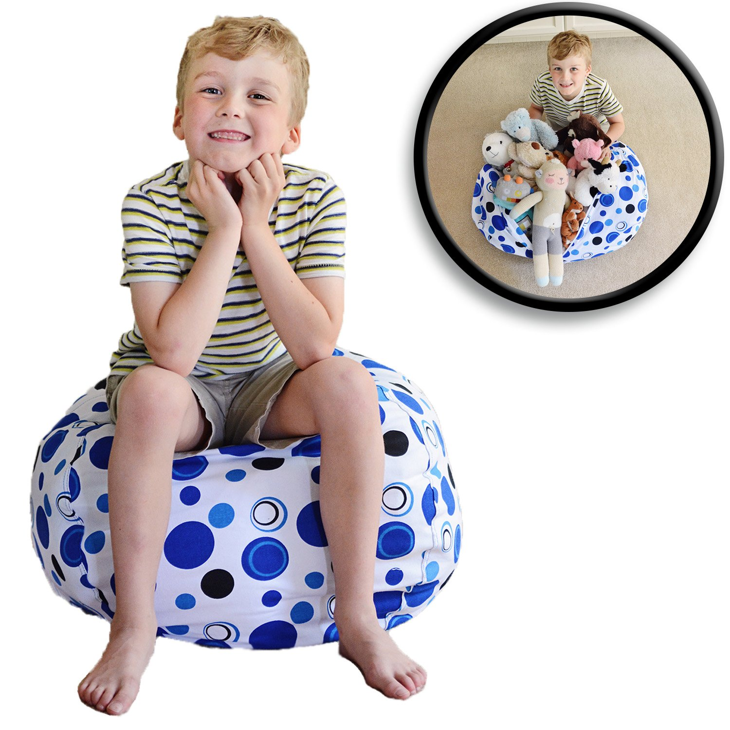 """Stuffed Animal Storage Bean Bag Chair - Premium Cotton Canvas - Clean Up The Room And Put Those Critters To Work For You! - By Creative Qt (27"""", Blue Polka Dot)"""