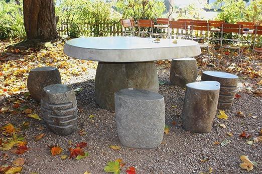 Wuona Objects - Mesa de jardín de piedra de río javan con 8 taburetes de piedra: Amazon.es: Juguetes y juegos