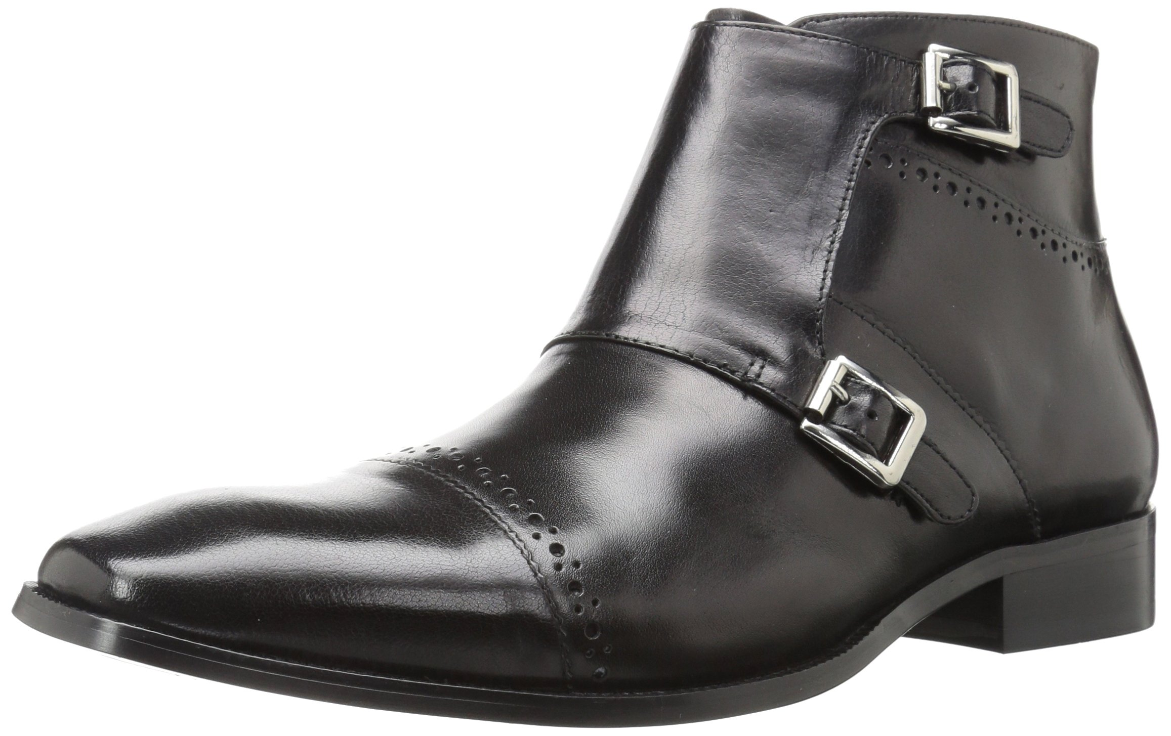 Stacy Adams Men's Kason Cap Toe Double Monk Strap Side Zipper Chukka Boot, Black, 10.5 M US