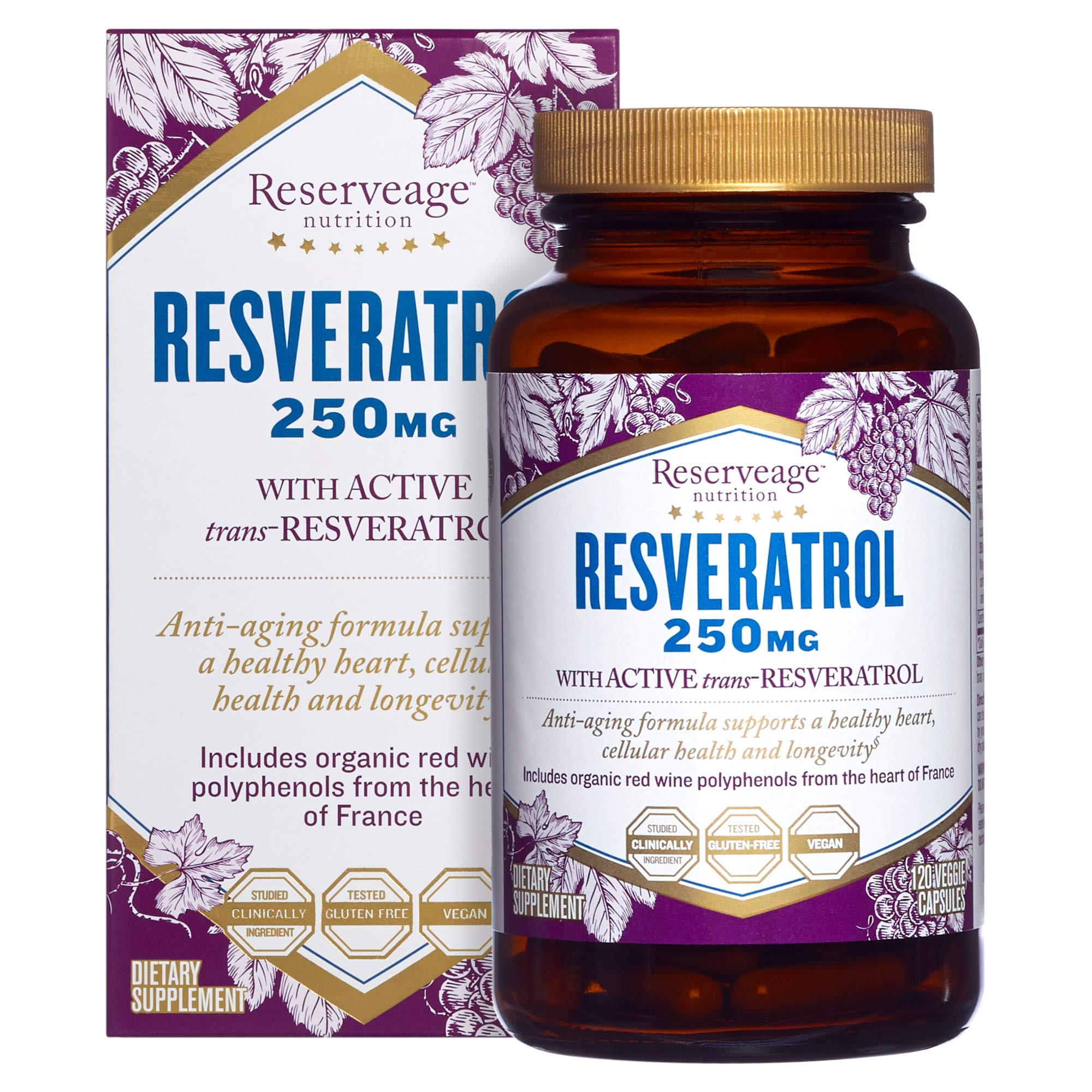 Reserveage, Resveratrol 250 mg, Antioxidant Supplement for Heart and Cellular Health, Supports Healthy Aging, Paleo, Keto, 120 capsules (120 servings) by Reserveage Nutrition