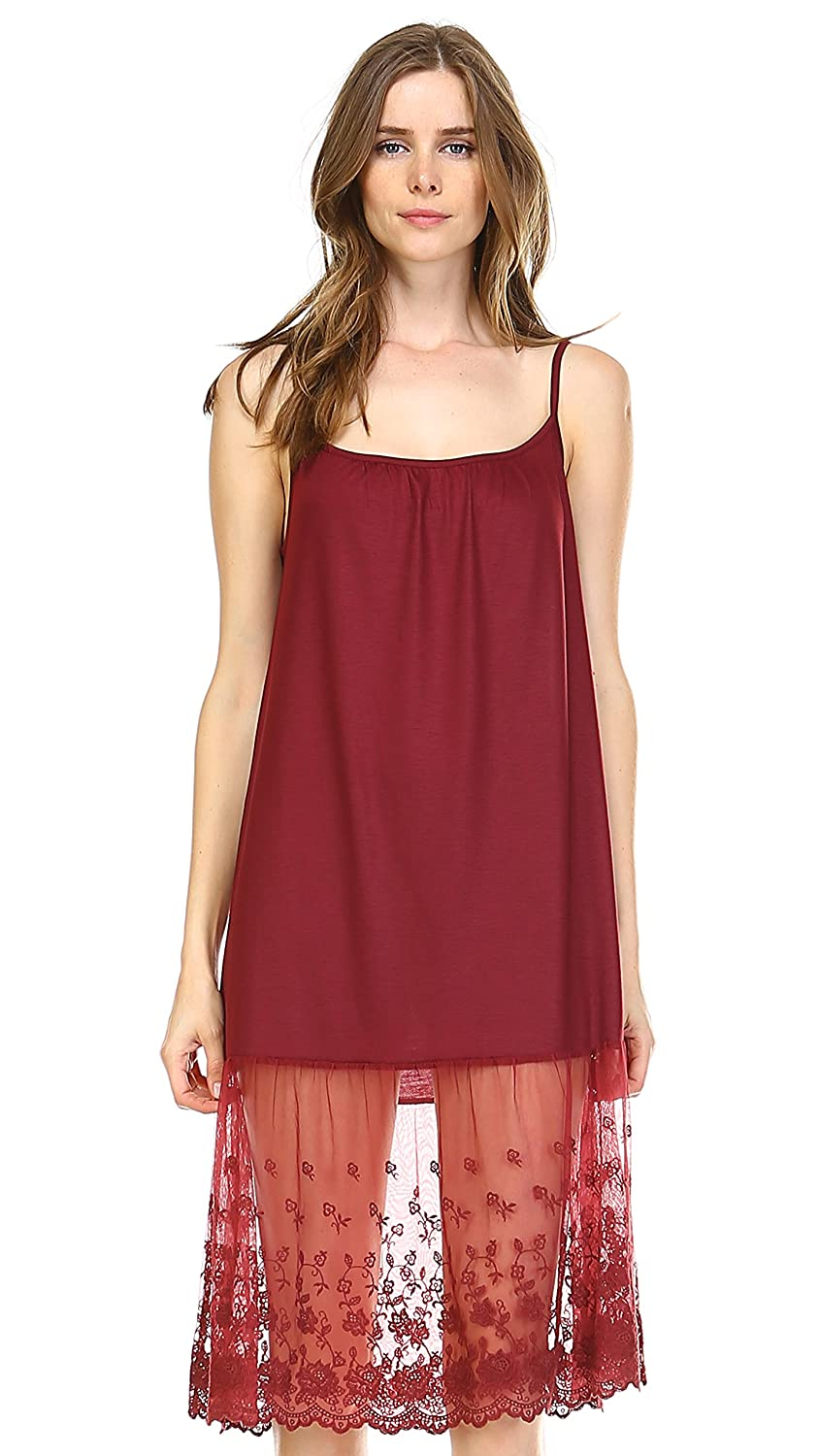 [Shop Lev] Women's Knit Cotton Long Lace Trim Full Slip
