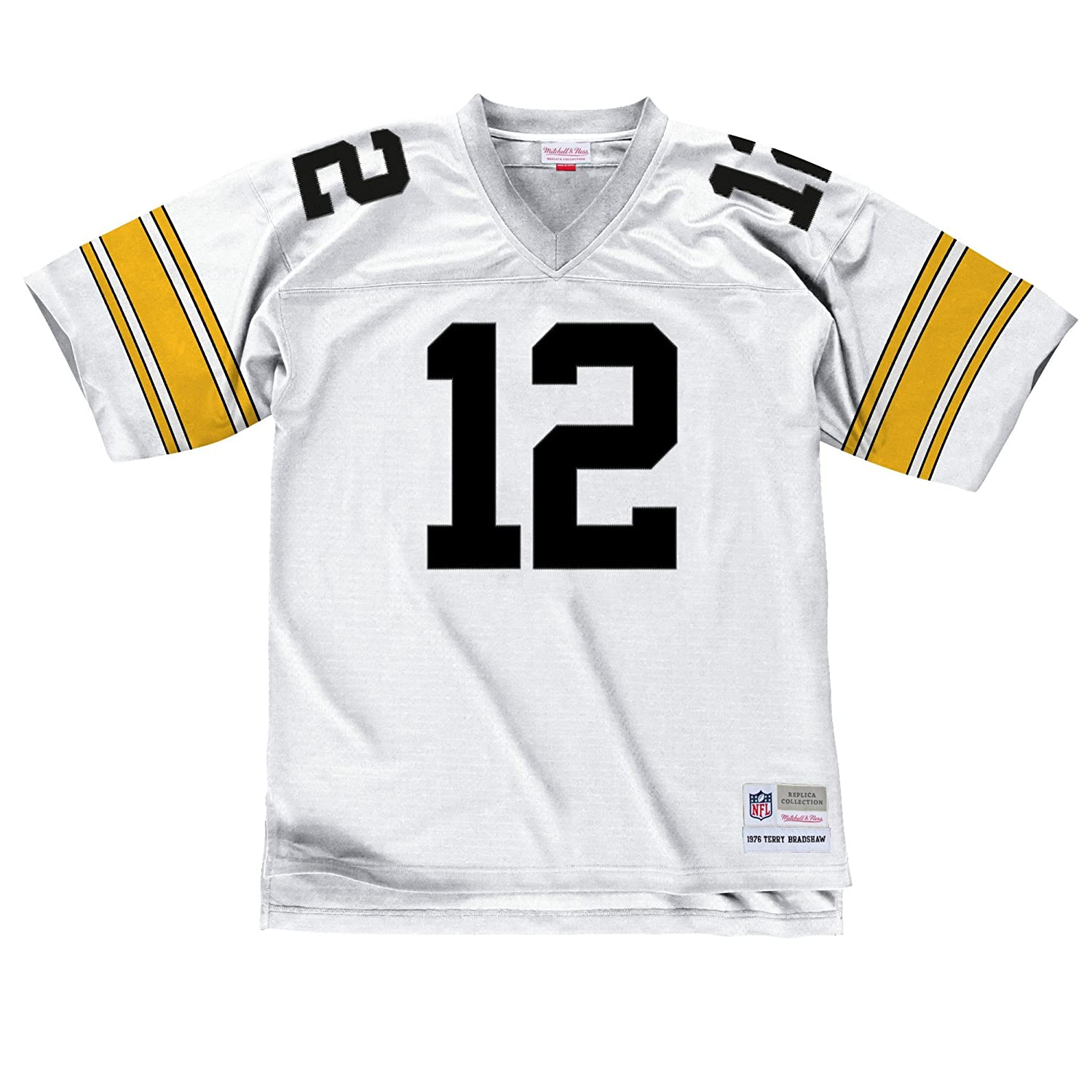 fb198570d Amazon.com   Pittsburgh Steelers Terry Bradshaw 1976 Mitchell   Ness  Throwback Jersey-White   Sports   Outdoors
