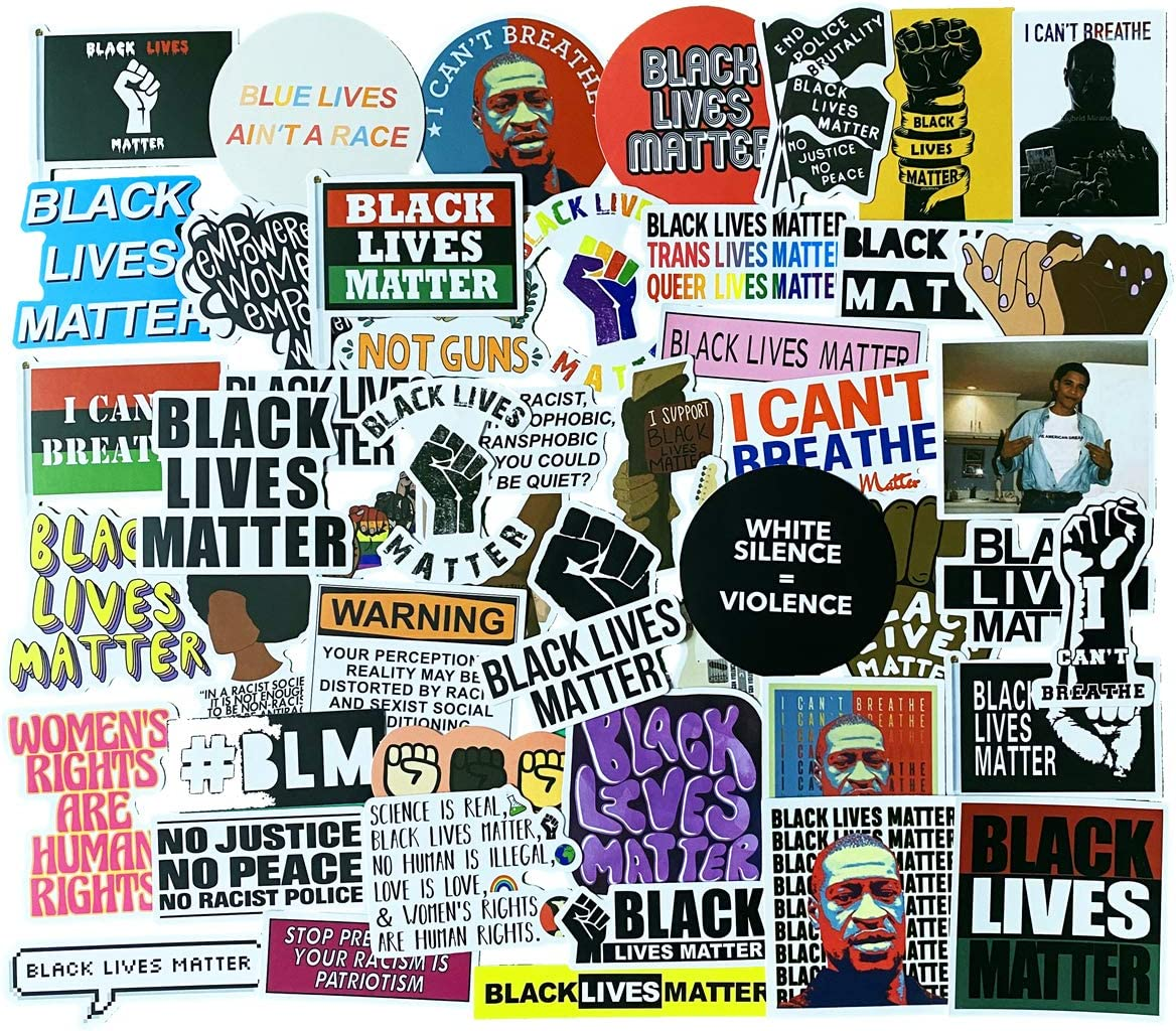 Black Lives Matter Stickers 50pcs, African Americans Stickers ACLU Women Rights Decal Window Bumper Sticker Vinyl (Black Rights & Woman Rights)