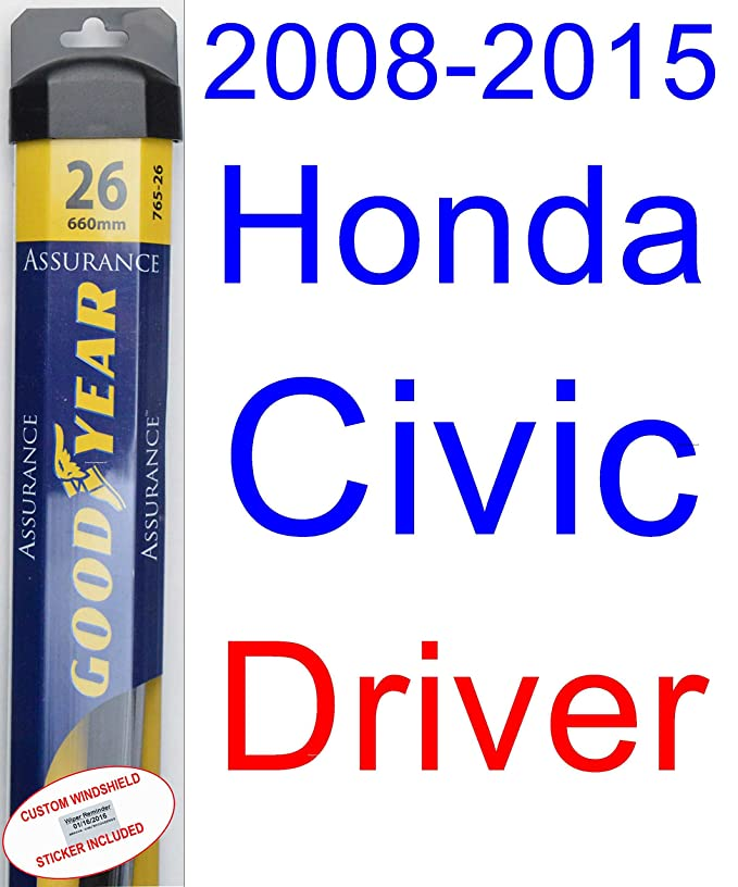 Amazon.com: 2008-2015 Honda Civic Sedan Wiper Blade (Driver) (Goodyear Wiper Blades-Assurance) (2009,2010,2011,2012,2013,2014): Automotive