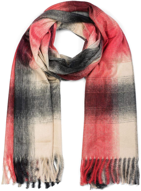 styleBREAKER Ch/âle avec un motif /à carreaux et franges foulard unisexe 01017098 /écharpe dhiver /étole