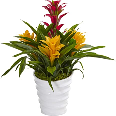 Amazon Com Nearly Natural Tropical Bromeliad Artificial Plant In Vase Green Home Kitchen
