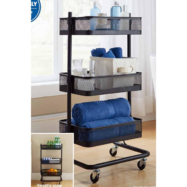 Amazon Mainstays Adjustable Utility Cart Storage Features 3 Metal Shelves Black Kitchen Dining
