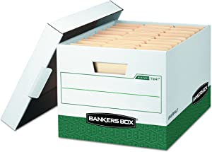 Bankers Box R-KIVE Heavy-Duty Storage Boxes, FastFold, Lift-Off Lid, Letter/Legal, Case of 12 (07241)