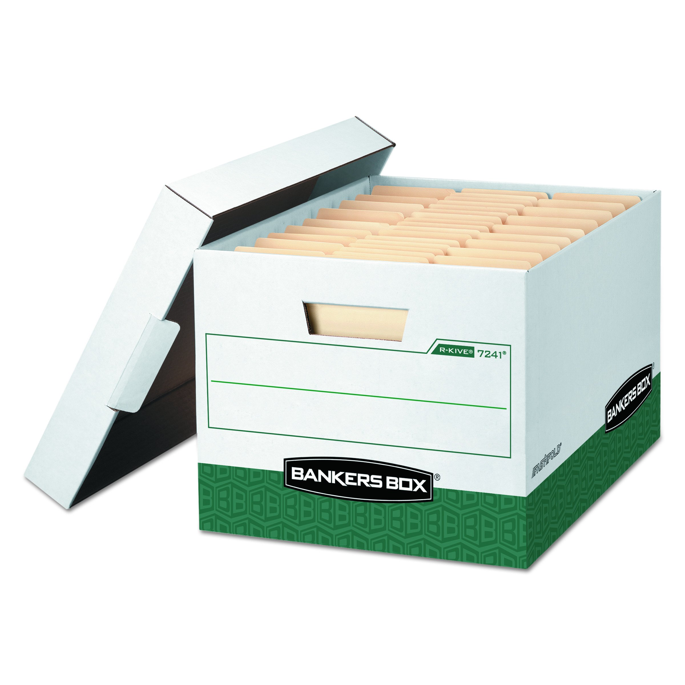 Bankers Box 07241 R-KIVE Max Storage Box, Letter/Legal, Locking Lid, White/Green (Case of 12)