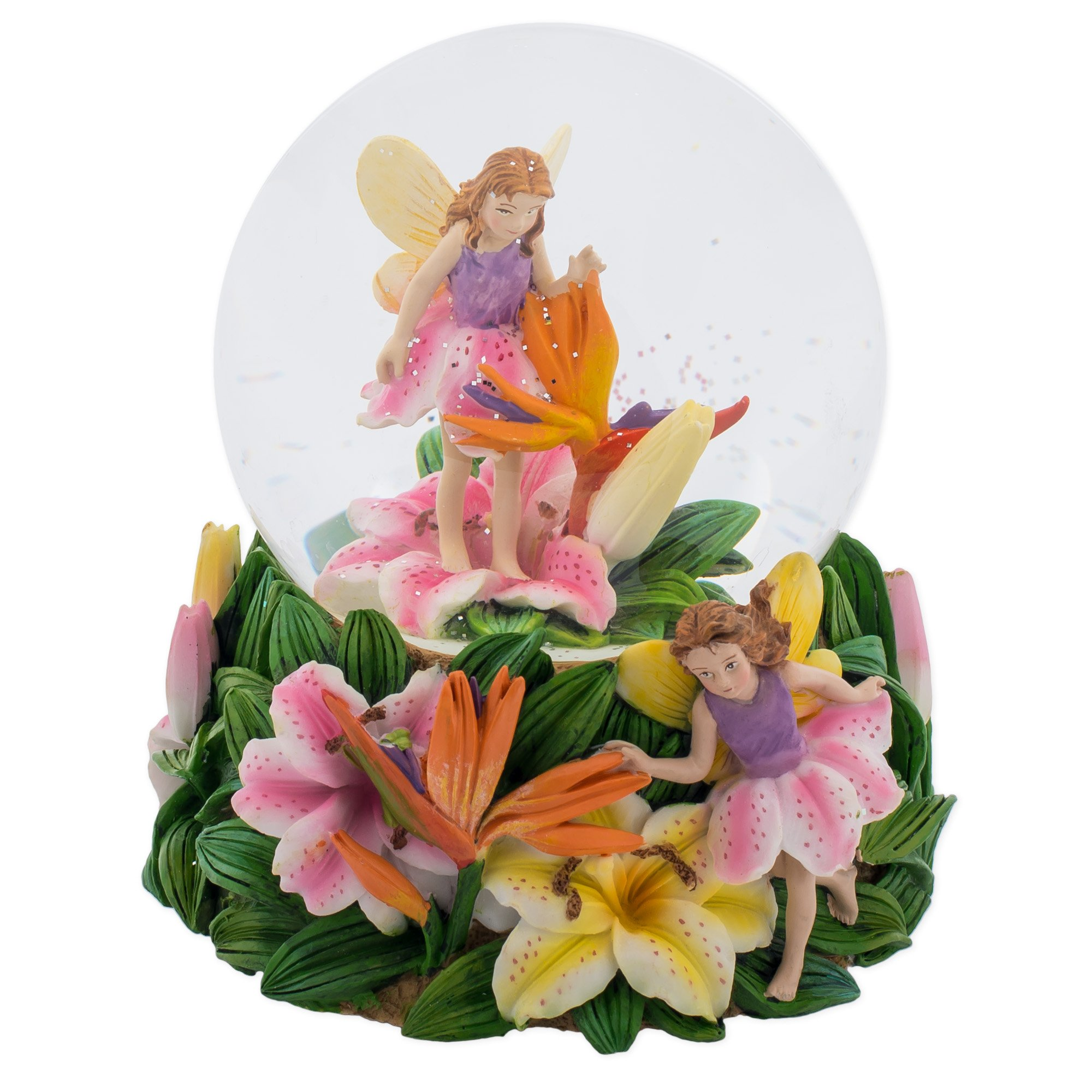 Cadona International, Inc Fairies Walking on Tiger Lillies 100MM Music Water Globe Plays Tune Waltz of The Flowers