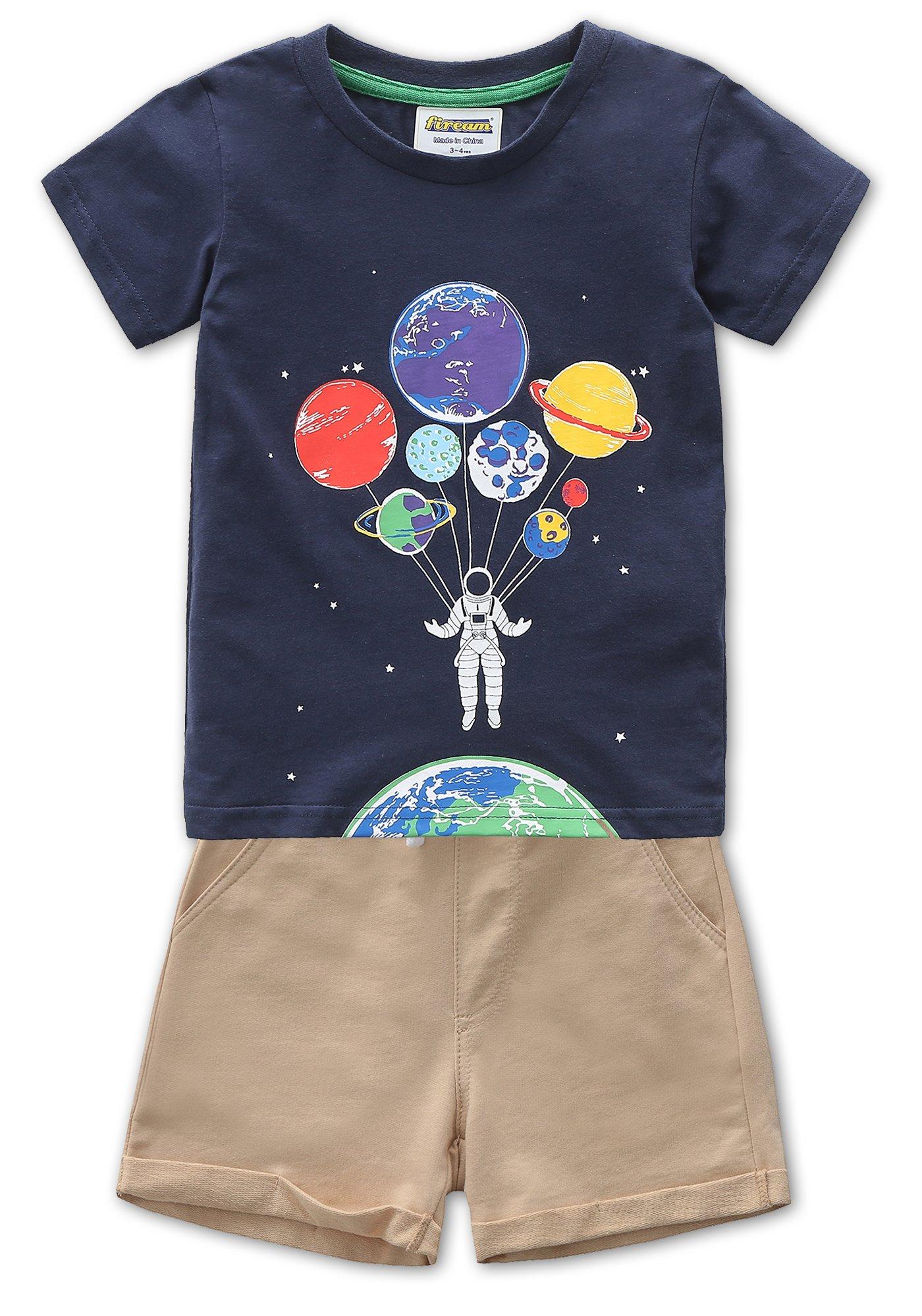 Fiream Boy's Cotton Shortsleeve Sets Shortsleeve Space Pattern Summer T-Shirts and Shorts 2 pcs Clothing Sets (18023,18M/1-2YRS)
