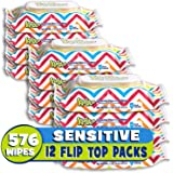 Kandoo Flushable Sensitive Wipes, Unscented, 50 Count Soft Tub (Pack of 12)