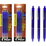 Pilot FriXion Clicker Retractable Gel Ink Pens, Eraseable, Fine Point 0.7mm, Blue Ink, Pack of 3 with Bundle 2 Packs of Refills