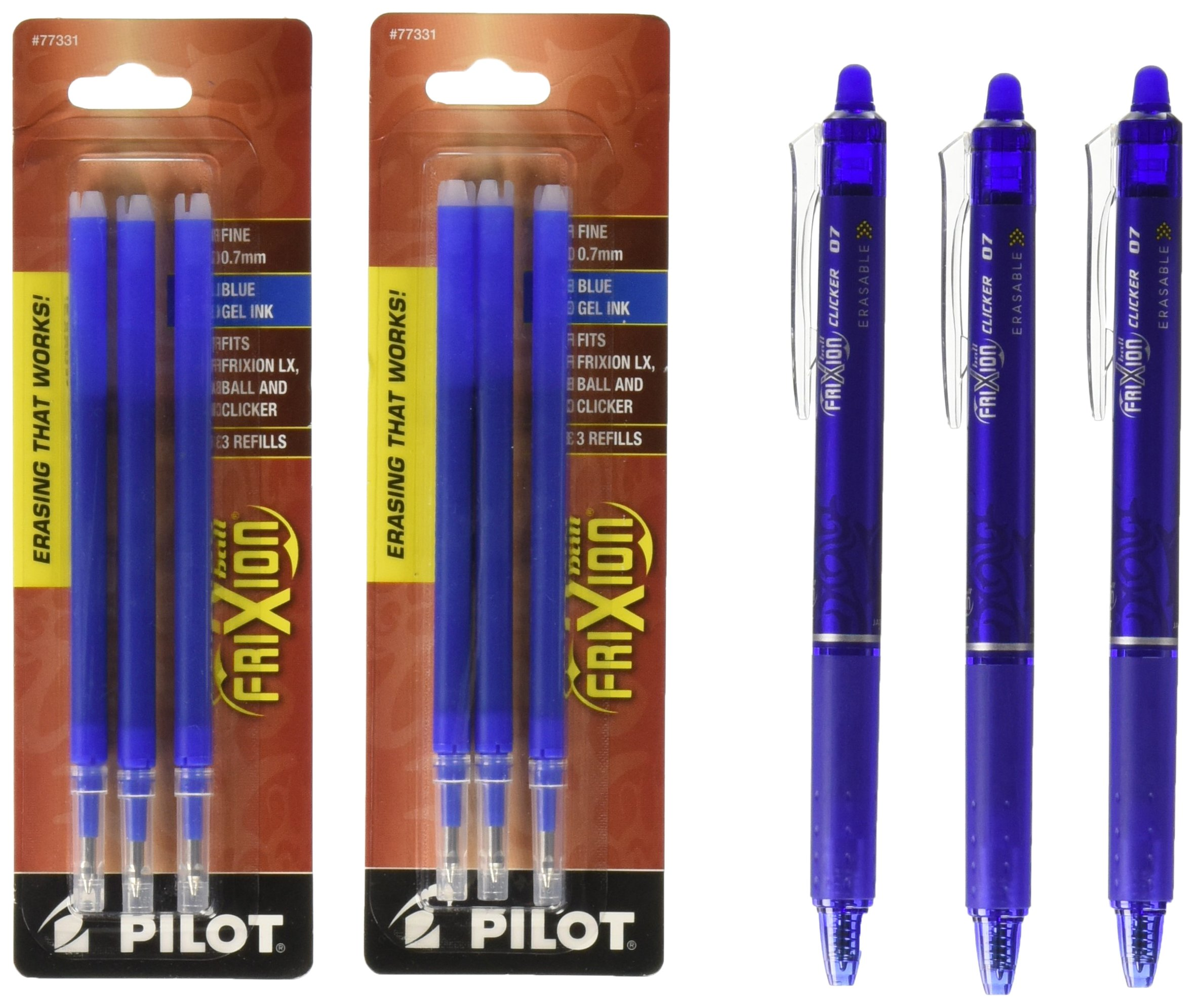 Pack of 3 with Bonus 2 Packs of Refills Pilot FriXion Clicker Retractable Gel Ink Pens Red Ink Eraseable Fine Point 0.7mm