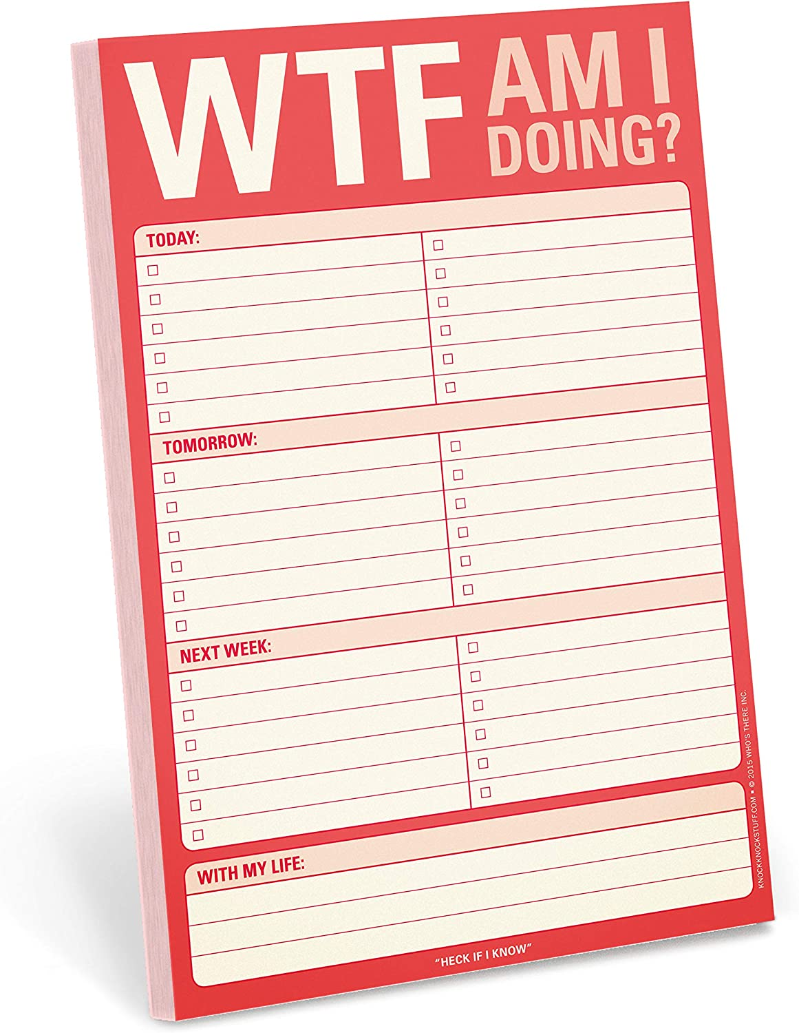 Knock Knock WTF Am I Doing? Pad, To Do List Note Pad, 6 x 9-inches