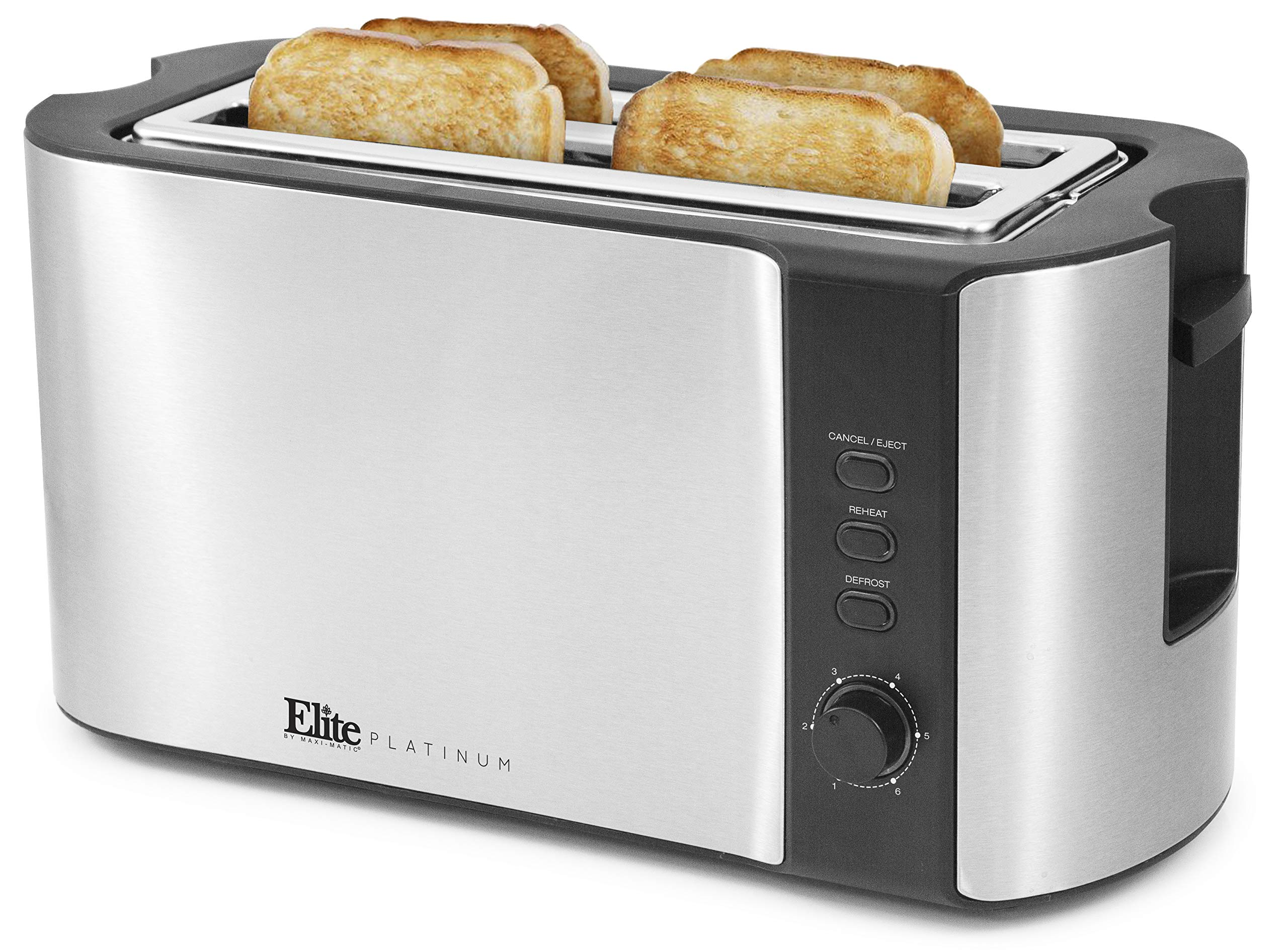 Elite Platinum ECT-3100 Cool Touch Long Slot Toaster with Extra Wide 1.25'' Slots for Bagels, 6 Settings, Space Saving Design, Warming Rack, 4 Slice, Stainless Steel & Black by Maxi-Matic