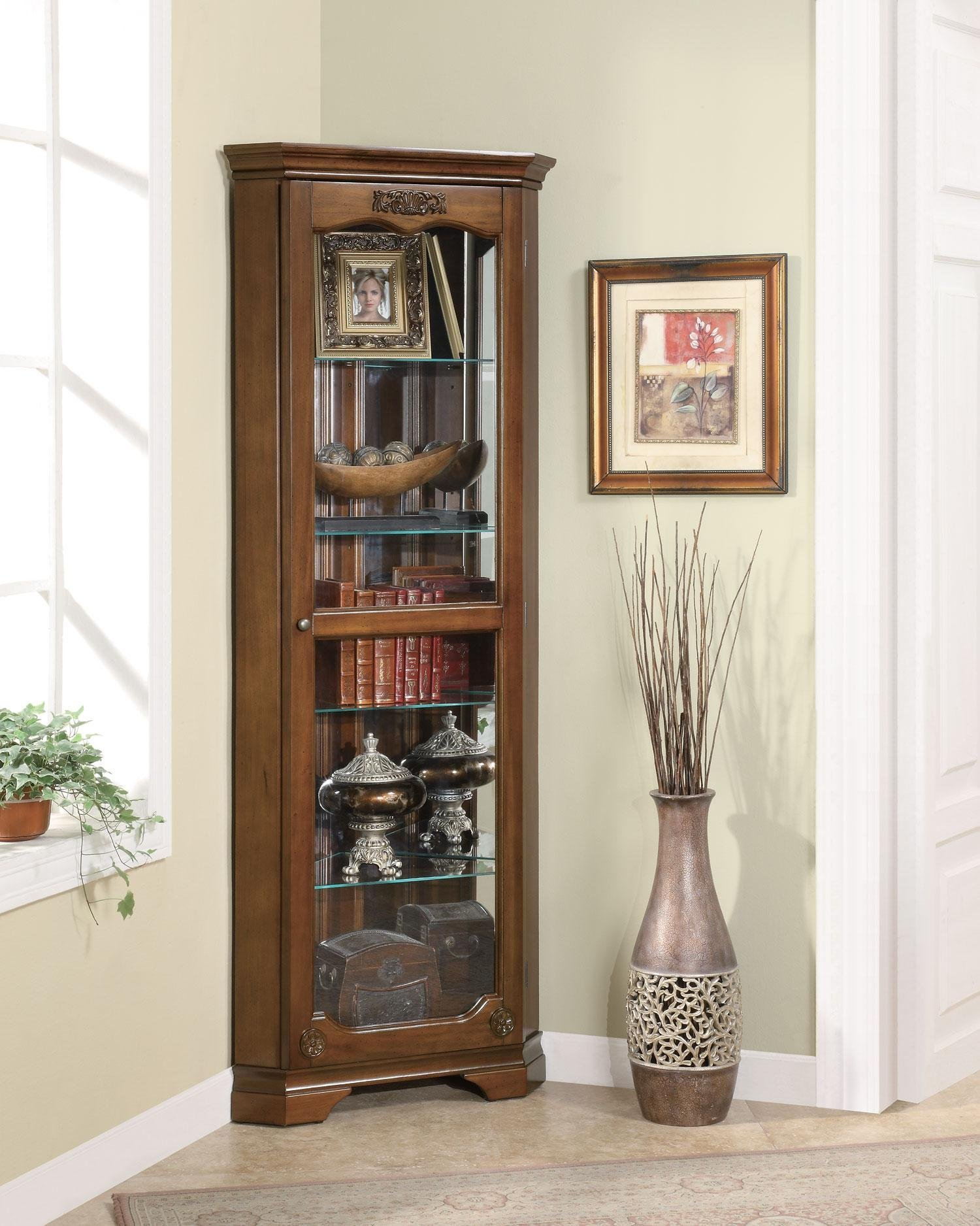 5-shelf Corner Curio Cabinet with Acanthus Leaf Top Golden Brown and Clear by Coaster Home Furnishings