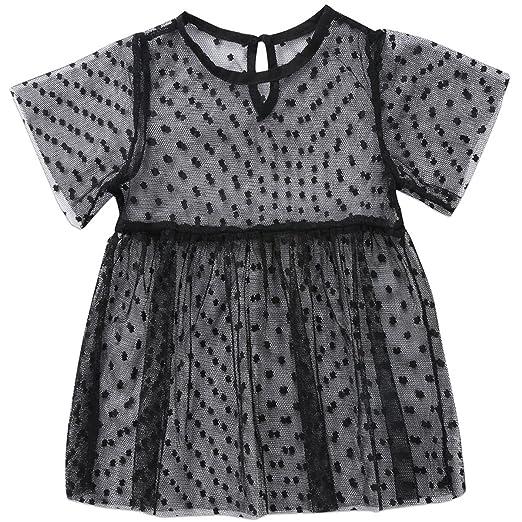Annvivi Baby Girls Yarns Tutu Tulle Princess Dot Dress Short Sleeve  One-Piece Dresses ( 8746d7144