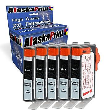 Alaskaprint 5X Negro Cartuchos de Tinta HP 364 364XL Compatible con 5510 5511 5512 5514 5520 5522 5524 6350 6510 6512 6520 7510 7520 4620 4622 Alta ...