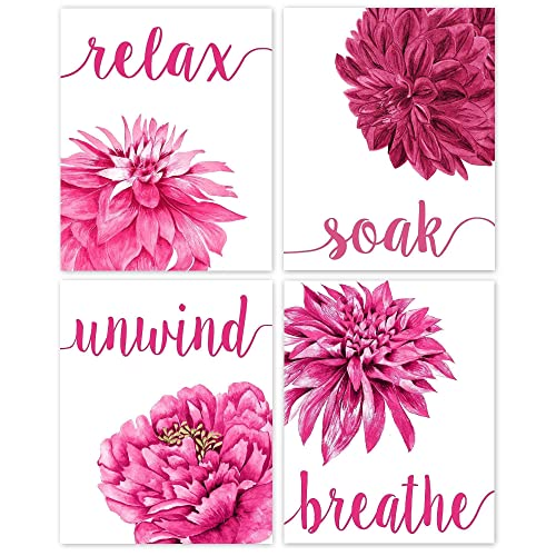 Amazon Com Relax Soak Unwind Breathe Hot Pink Bathroom Flower Poster Prints Set Of 4 8x10 Unframed Photos Wall Art Decor Gifts Under 20 For Home Office Salon College Student Yoga And Floral