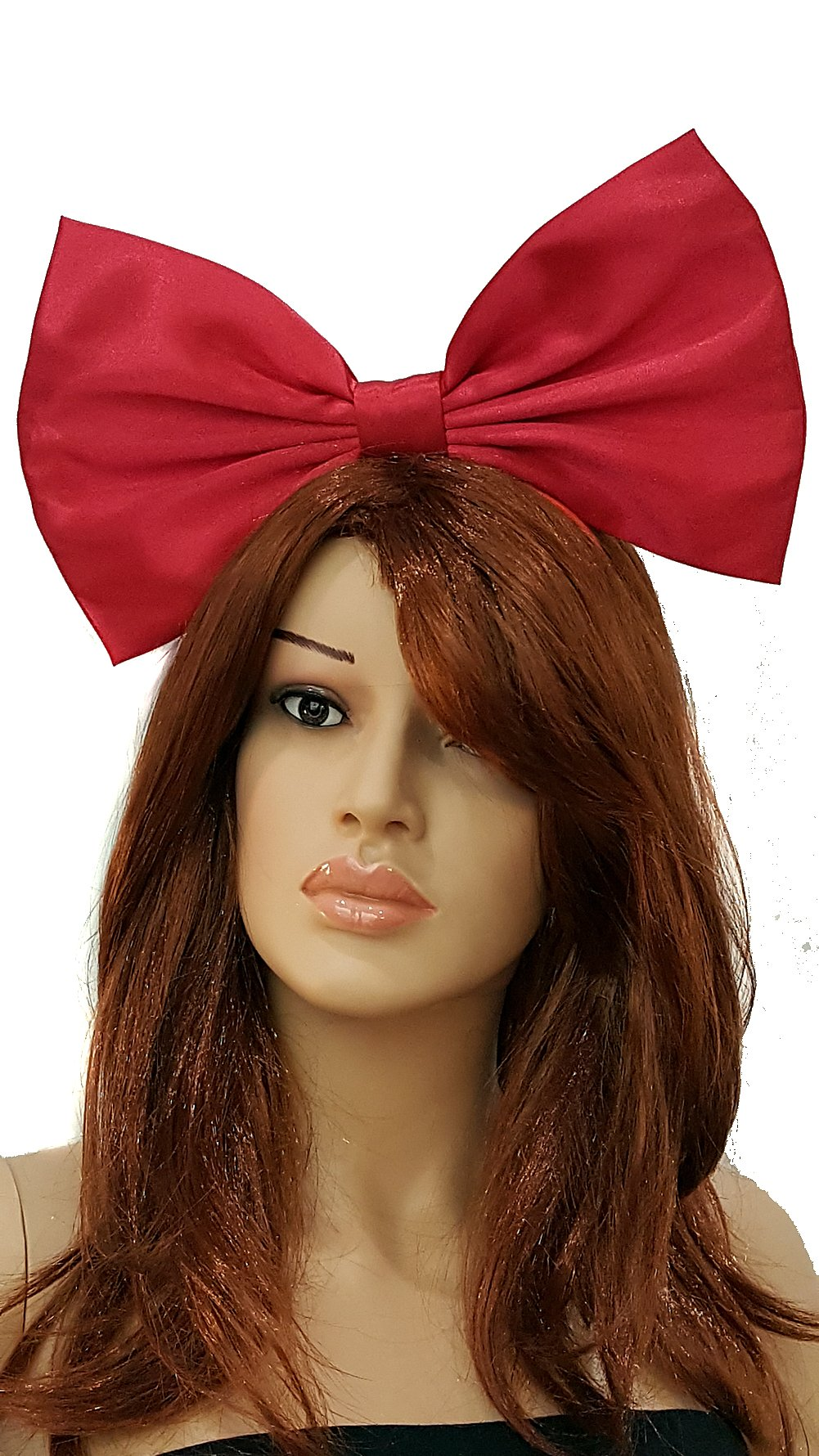 Giant Extra Large Hair Bow Collection- Red Polka Dot''Minnie Mouse'' Inspired Hair Bows- Red- Black- Or Pink- Rockabilly, Pin Up, Retro, cosplay, (Headband, Kiki's Delivery Service in Satin)