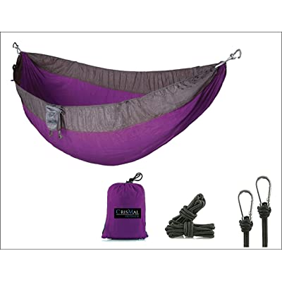 CrisMal Outdoor Camping Hammock   Portable Tree Hanging Backyard or Camp Use for Sleeping and Relaxation  Rip Resistant 210T Nylon   Indoor or Outdoor   Carabiners and Ropes: Sports & Outdoors