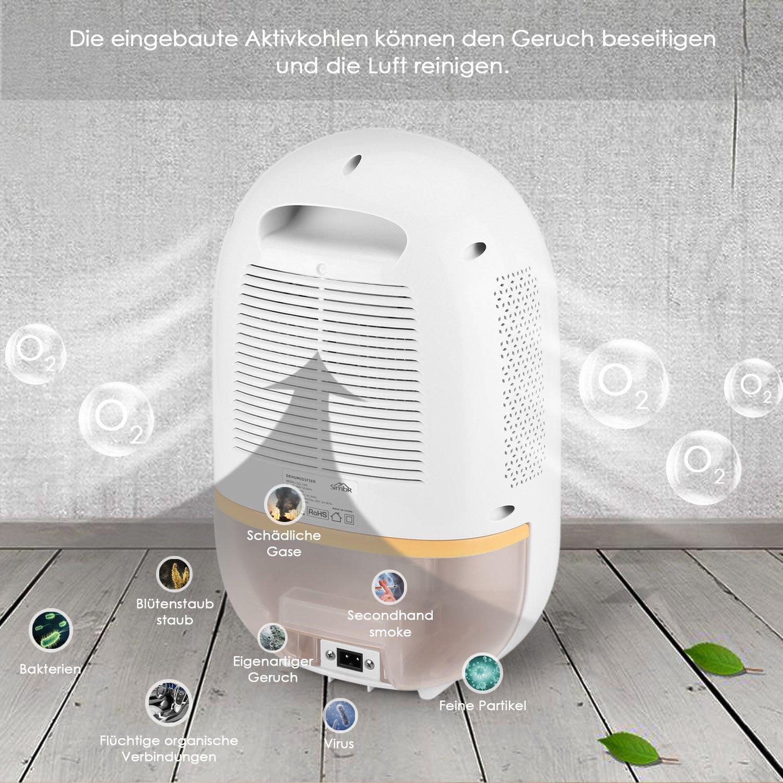 SIMBR Mini Deshumidificador 550 ml Deshumidificador de Aire Portátil y Compacto con LED Monitor Electrónico 1100 ml Depósito de Agua para Cocina Dormitorio ...