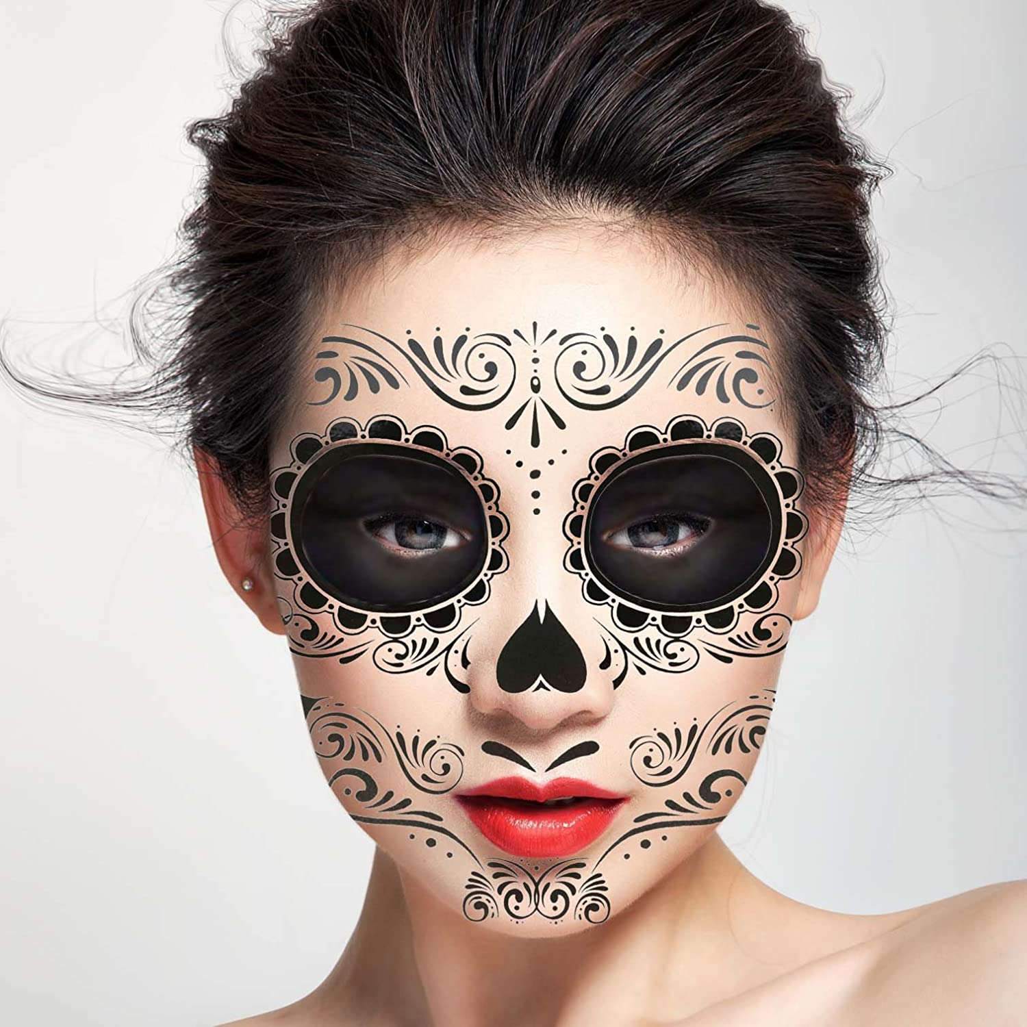 COKOHAPPY Black Skeleton Day of the Dead Temporary Face Tattoo Kit Men or Women - Pack of 2 Kits