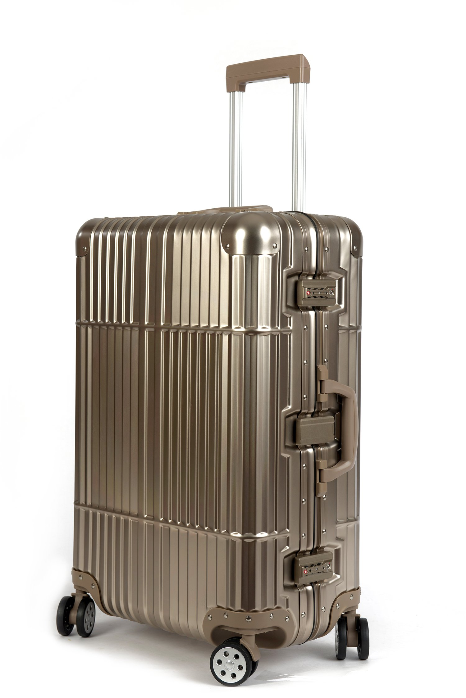 Cloud 9 - All Aluminum Luxury Hard Case Checked 24'' Durable with 360 Degree 4 Wheel Spinner TSA Approved by Newbee Fashion