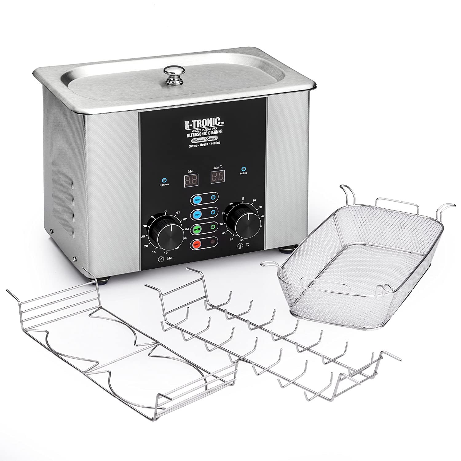 "X-Tronic Model #2200-XTS 2.0 Liter ""Platinum Edition"" Commercial Ultrasonic Cleaner with Time/Temp LED Displays, Sweep & Degas Controls, S/S Cleaning Basket, Wire Rack Holder & Wire Beaker Holder"