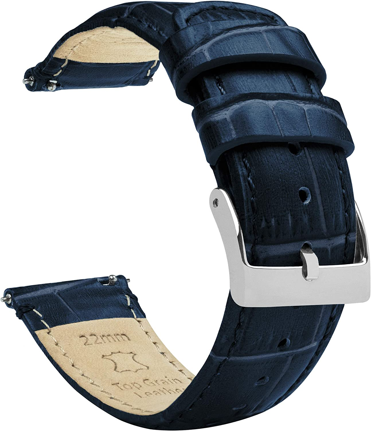 Barton Alligator Grain - Quick Release Leather Watch Bands - Choose Color - 18mm, 20mm or 22mm