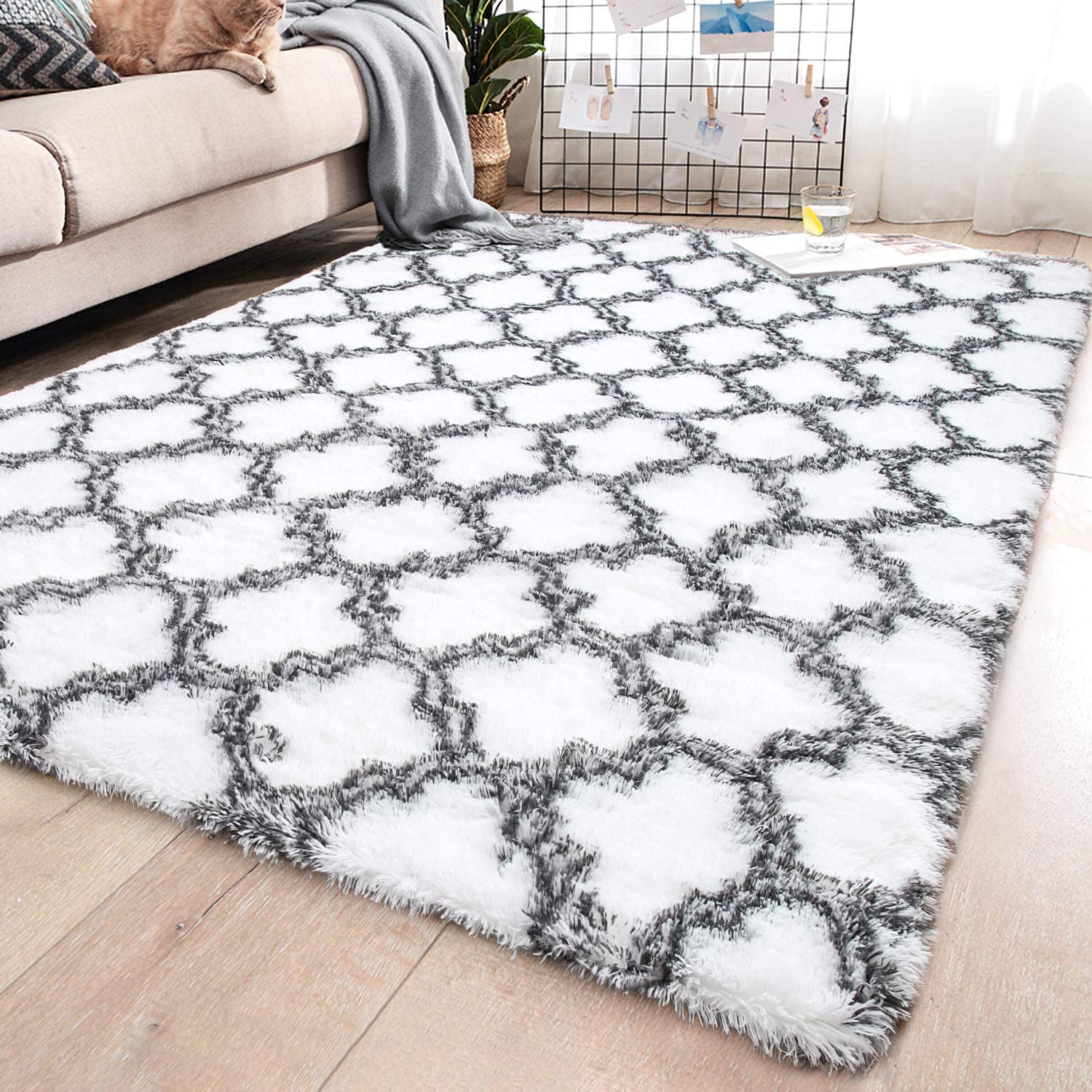 YJ.GWL Soft Indoor Large Modern Area Rugs Shaggy Patterned Fluffy Carpets Suitable for Living Room and Bedroom Nursery Rugs Home Decor Rugs for Christmas and Thanksgiving 5'x8' White Trellis