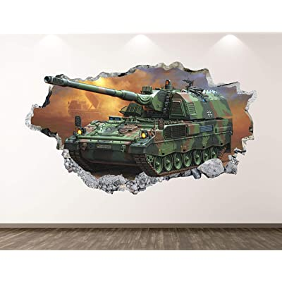 "West Mountain Military Tank Wall Decal Art Decor 3D Smashed Army Sticker Poster Kids Room Mural Custom Gift BL155 (22"" W x 14"" H): Home & Kitchen"