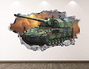 """West Mountain Military Tank Wall Decal Art Decor 3D Smashed Army Sticker Poster Kids Room Mural Custom Gift BL155 (22"""" W x 14"""" H)"""