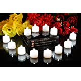 12 White Battery Tea Lights - Flickering Flameless Electric Tealight LED Candles for Wedding Party Birthday by PK Green