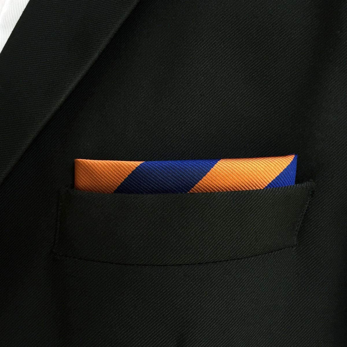 SHLAX/&WING Stripes Mens Pocket Square Orange Blue New for Wedding Party Large