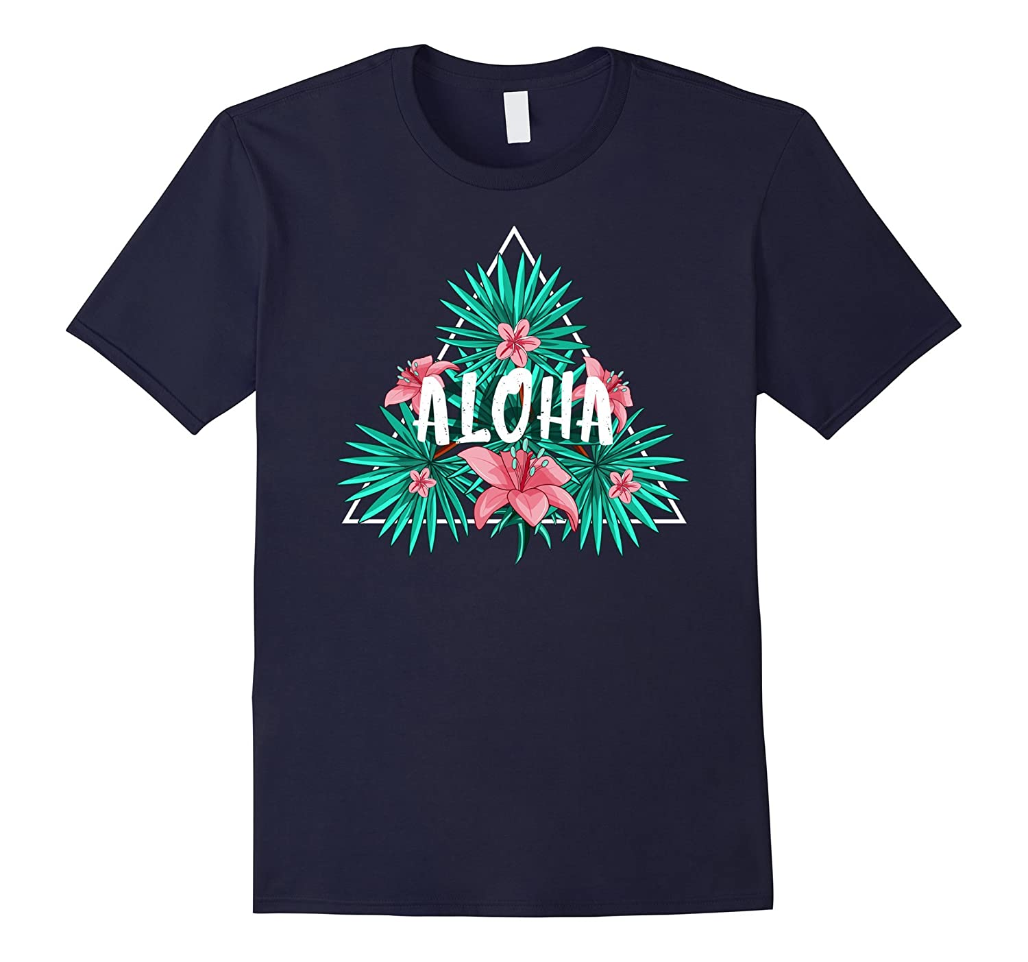 Aloha Hawaiian T-Shirt Tee Shirt Tropical Hibiscus Flowers-T-Shirt