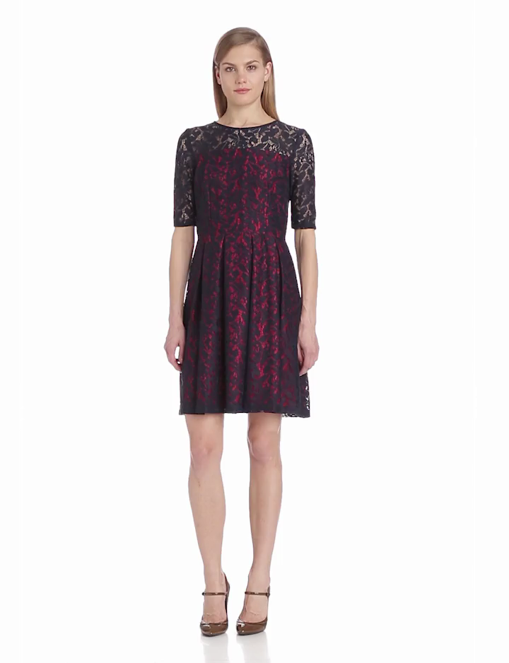 Gabby Skye Womens Elbow Sleeve Lace Flare Dress, Navy, 4