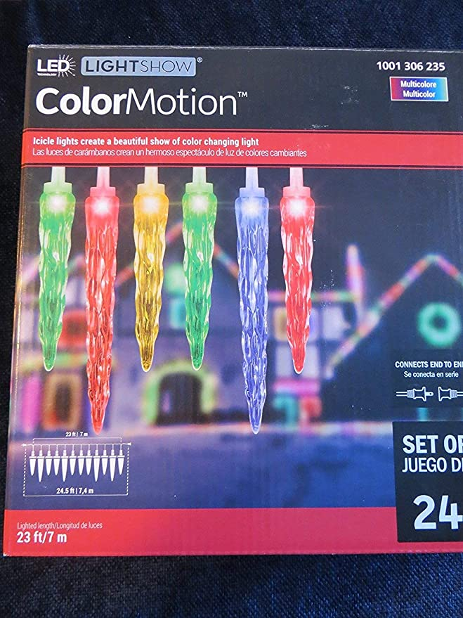 Amazon.com: LED LightShow COLORMOTION Set of 24 Multicolored Icicle Lights!: Home & Kitchen