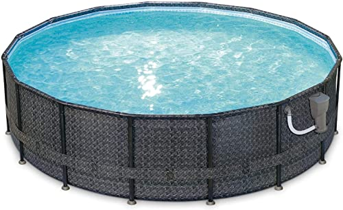 Summer Waves P4A01648B 16ft x 48in Above Ground Frame Outdoor Swimming Pool Set w/Filter Pump