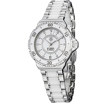 08f9c205d96 Amazon.com  Tag Heuer Formula 1 Diamond Automatic Steel and White Ceramic  Ladies Watch WAU2213.BA0861  TAG Heuer  Watches