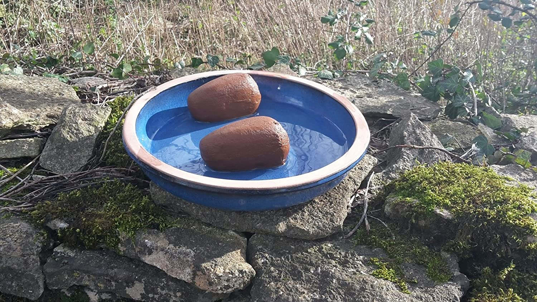 Bird Bath - Blue Ceramic