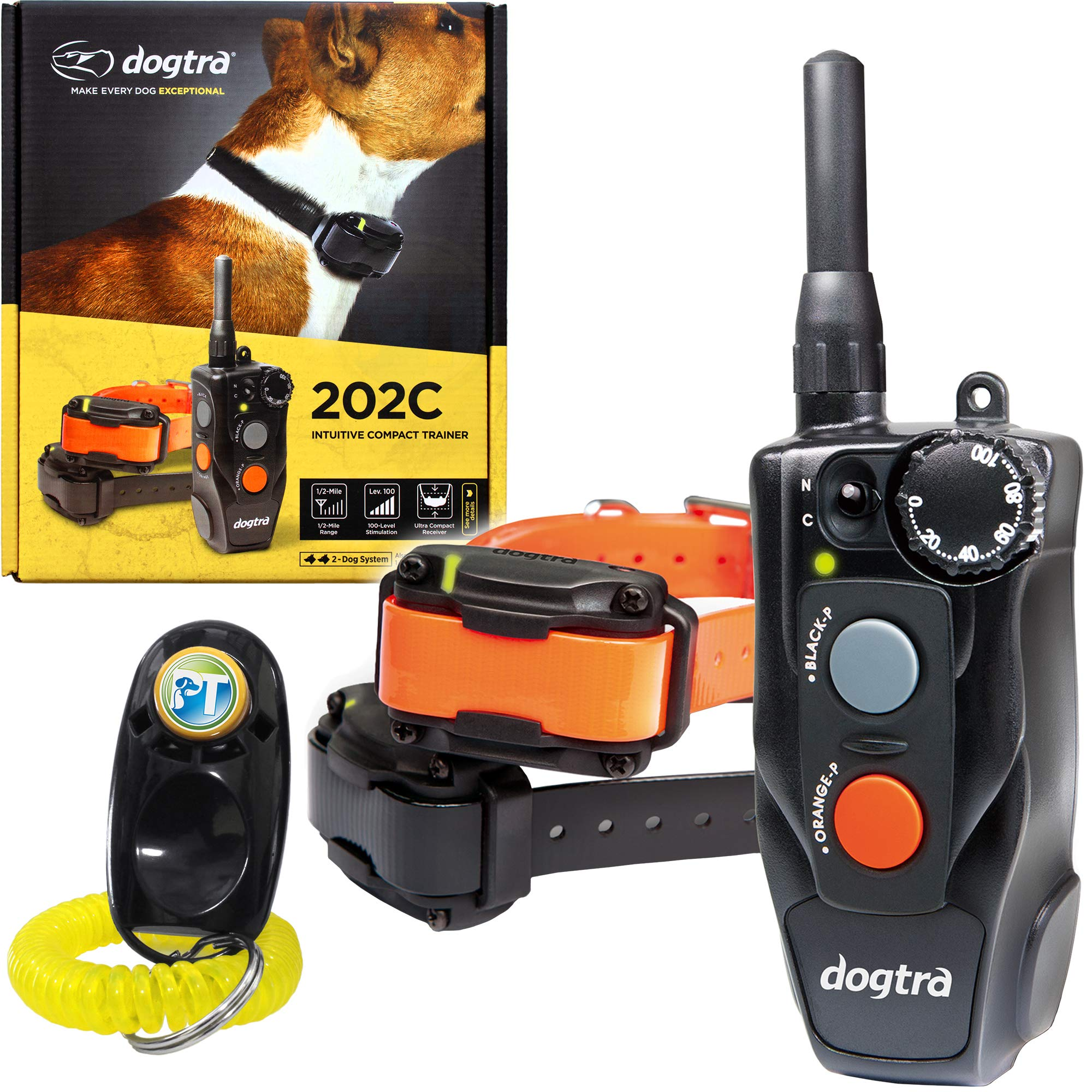 Dogtra 202C Two Dogs Remote Training Collar - 1/2 Mile Range, Waterproof, Rechargeable, Shock, Vibration - Includes PetsTEK Dog Training Clicker