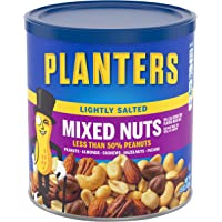 PLANTERS Lightly Salted Mixed Nuts, 15 oz Canister (Pack of 3) - Less than 50% Peanuts, Almonds, Cashews, Pecans, Brazil…