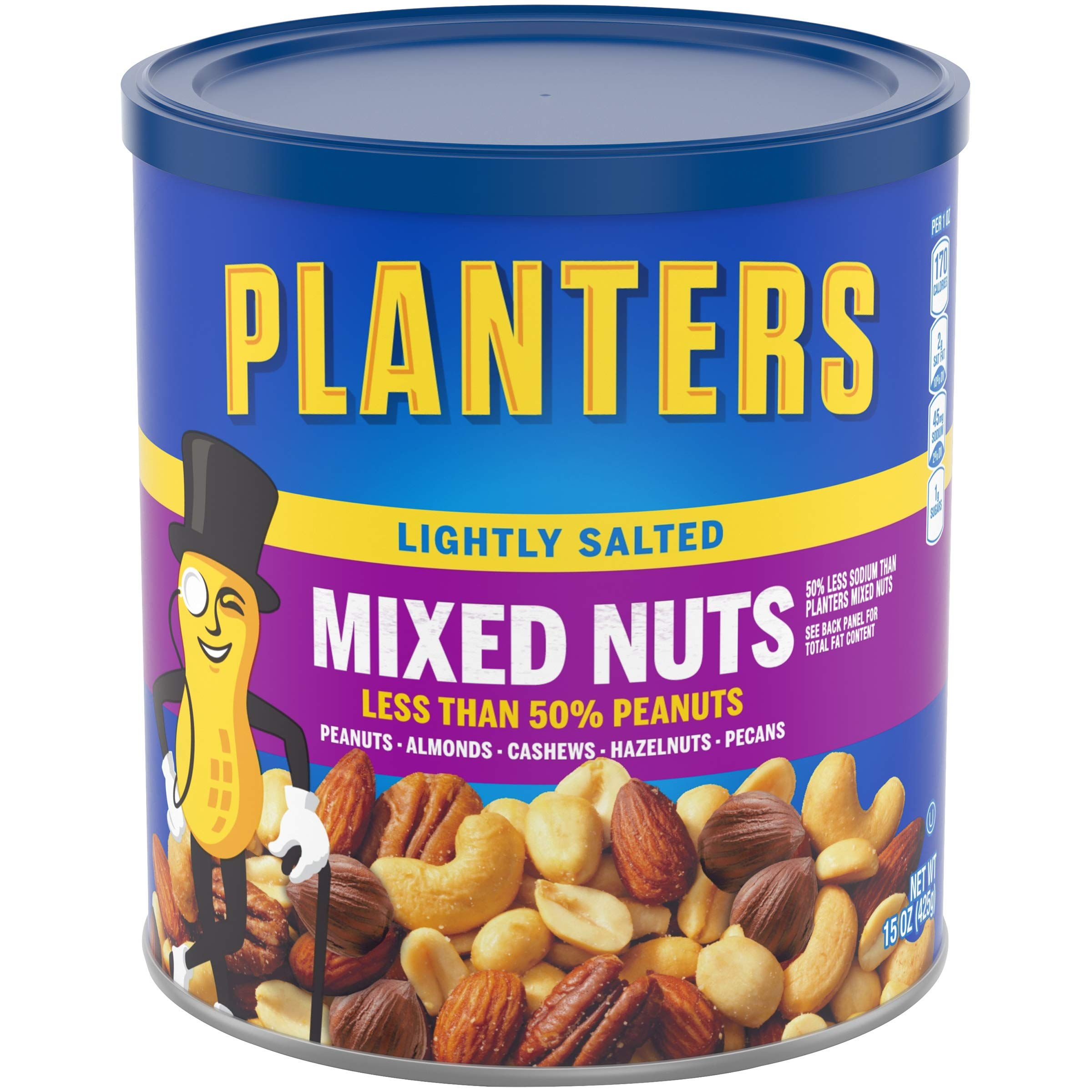 Planters Lightly Salted Mixed Nuts (15 oz Canister, Pack of 3)