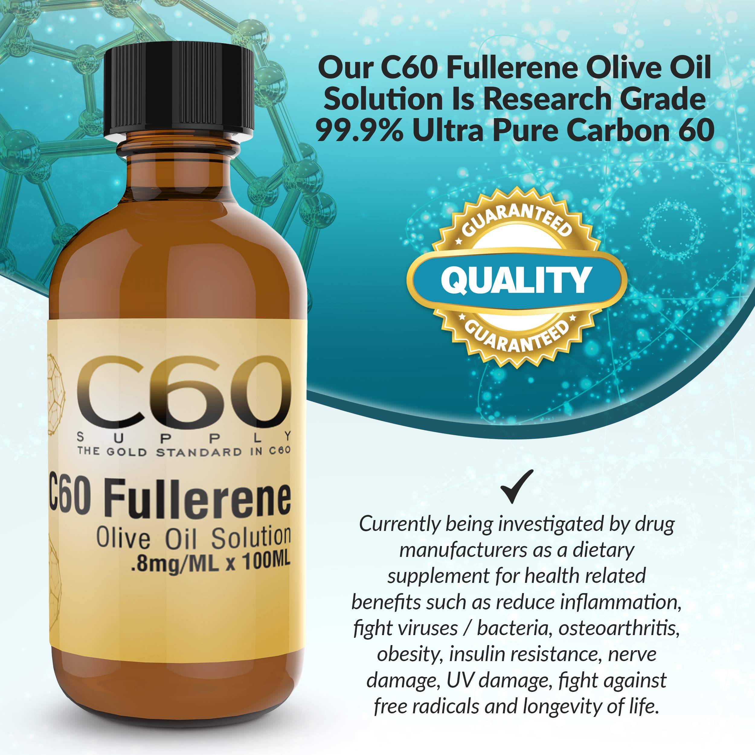 C60 in Olive Oil, Carbon 60 Supplement in Amber Glass Lab Bottles, C 60 Olive Oil, Organic 100ml 99.9% Ultra Pure FULLERENE C60 Supplement. Solvent Free BUCKMINSTERFULLERENE Carbon 60 Olive Oil by C60 Supply (Image #3)