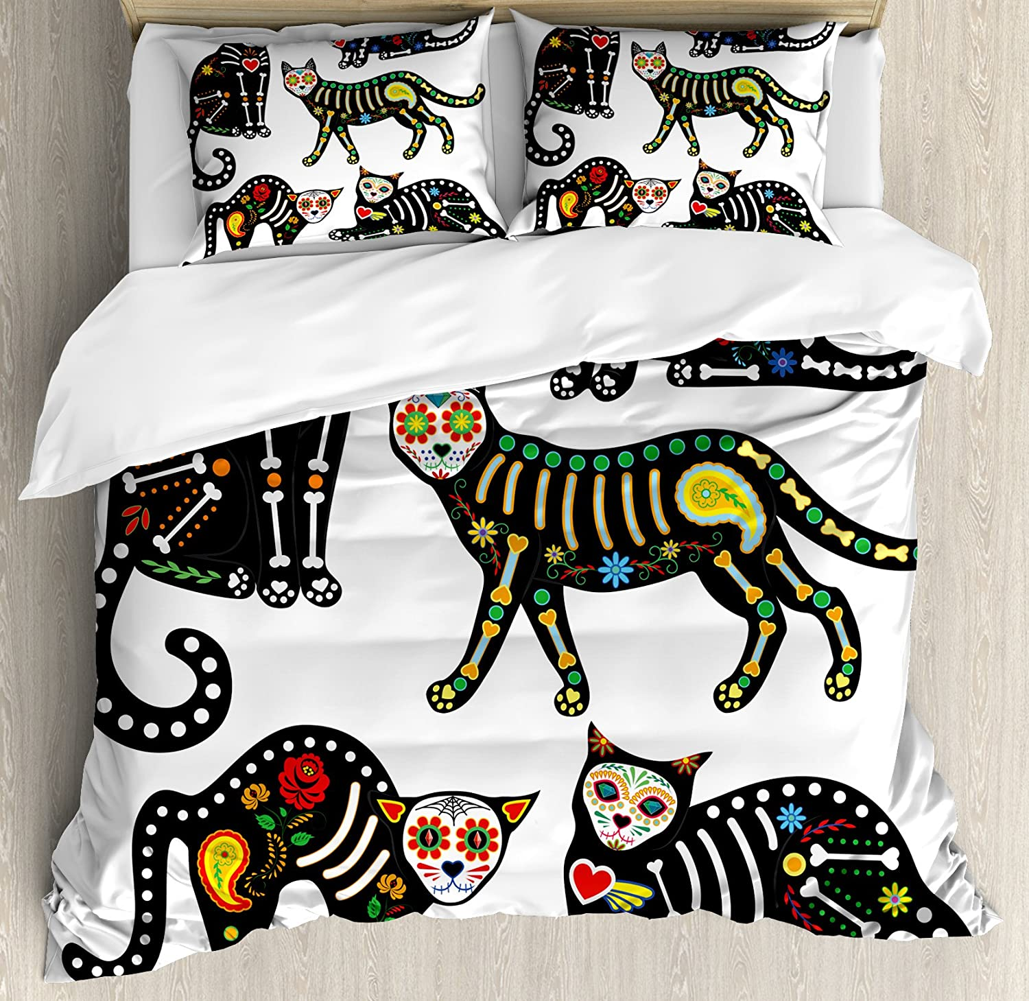 Ambesonne Sugar Skull Duvet Cover Set, Calavera Inspired Ornate Black Cats Mexican Style Holiday The Day of The Dead, Decorative 3 Piece Bedding Set with 2 Pillow Shams, Queen Size, Black White