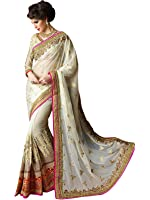 FabFort Women's Silk Saree With Blouse Piece (FABTZ-29_White)