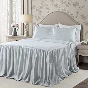 Lush Decor Lush Décor Ticking Stripe Bedspread Lake Blue Shabby Chic Farmhouse Style Lightweight 2 Piece Set Twin